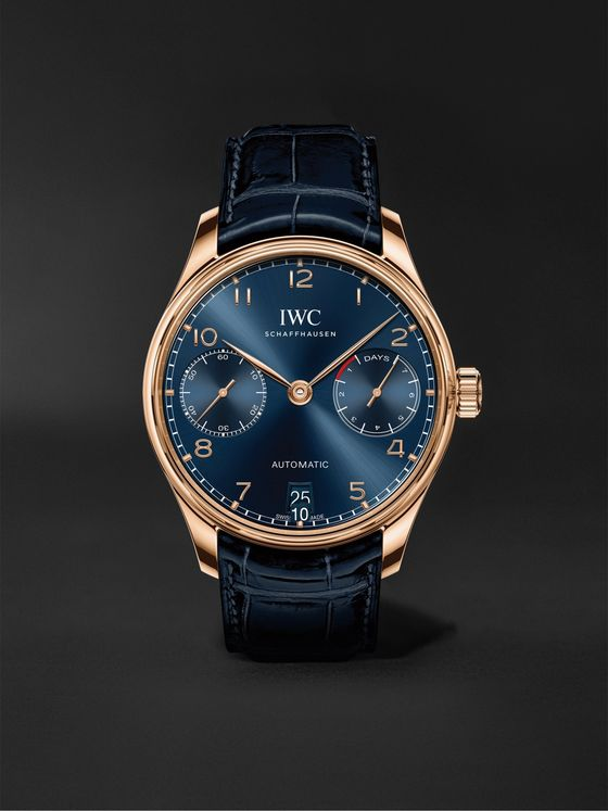 IWC SCHAFFHAUSEN Portugieser Automatic Boutique Edition 42.3mm 18-Karat Gold and Alligator Watch, Ref. No. IW500713