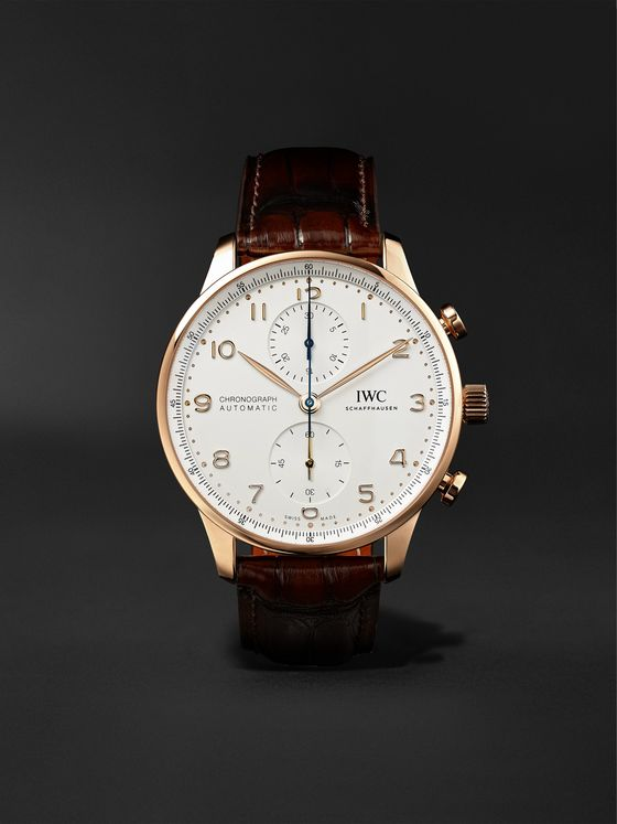 IWC SCHAFFHAUSEN Portugieser Automatic Chronograph 41mm 18-Karat Gold and Alligator Watch, Ref. No. IW371611