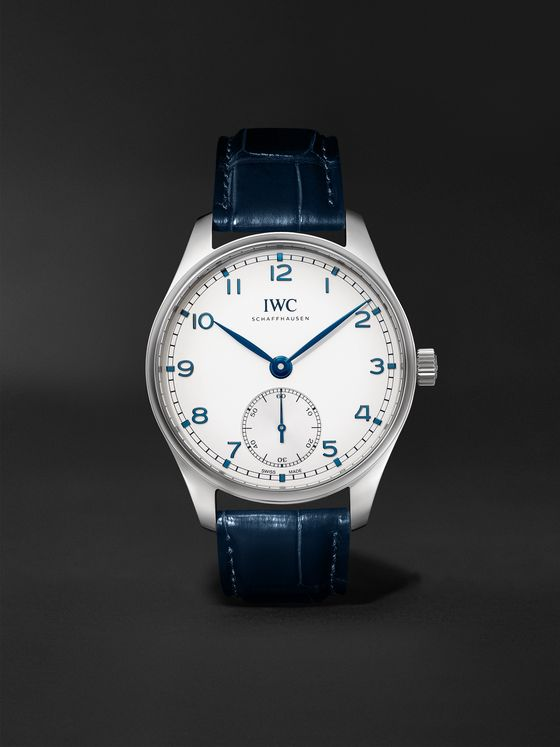 IWC SCHAFFHAUSEN Portugieser Automatic 40.4mm Stainless Steel and Alligator Watch, Ref. No. IW358304