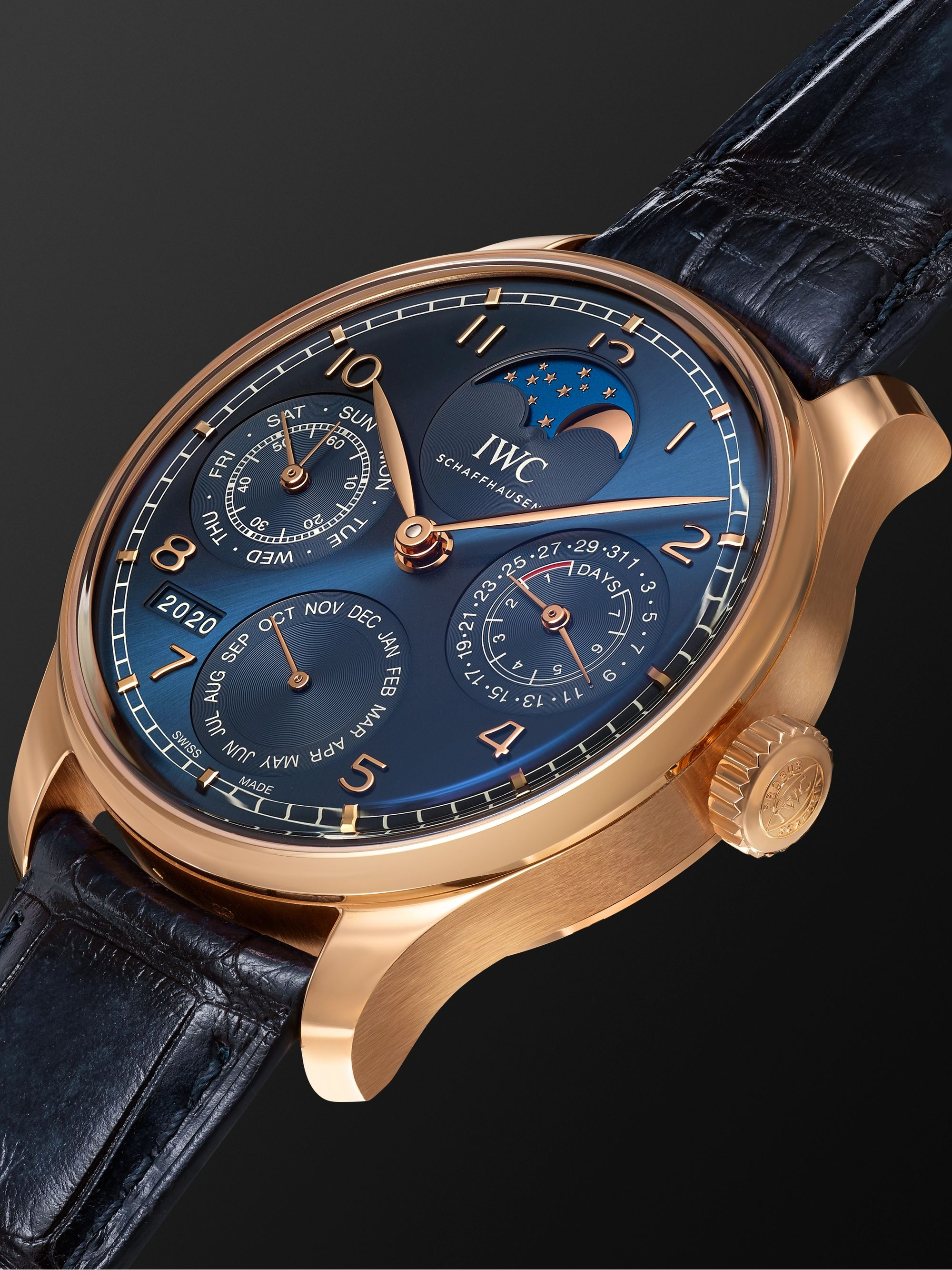 IWC SCHAFFHAUSEN Portugieser Perpetual Calendar Automatic Boutique Edition 44.2mm 18-Karat Armor Gold and Alligator Watch, Ref. No. IW503312