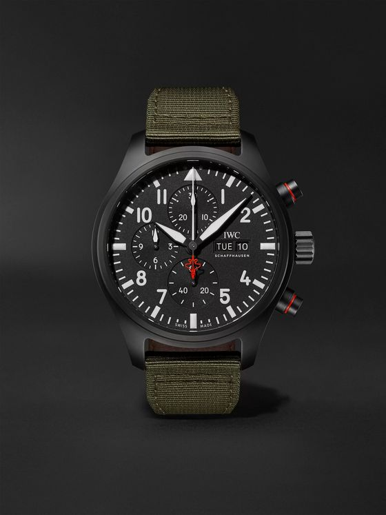 IWC SCHAFFHAUSEN Pilot's TOP GUN Automatic Chronograph 44mm Ceramic and Webbing Watch, Ref. No. IW389104