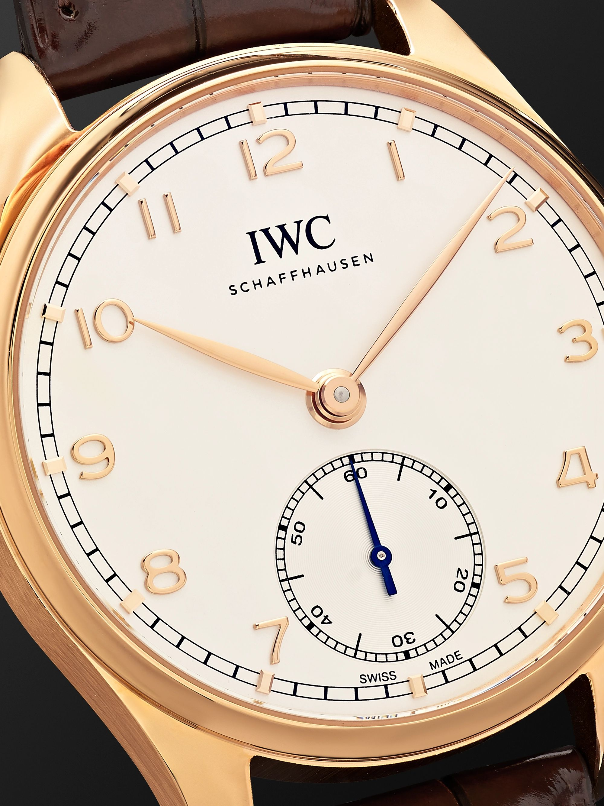 IWC SCHAFFHAUSEN Portugieser Automatic 40.4mm 18-Karat Red Gold and Alligator Watch, Ref. No. IW358306
