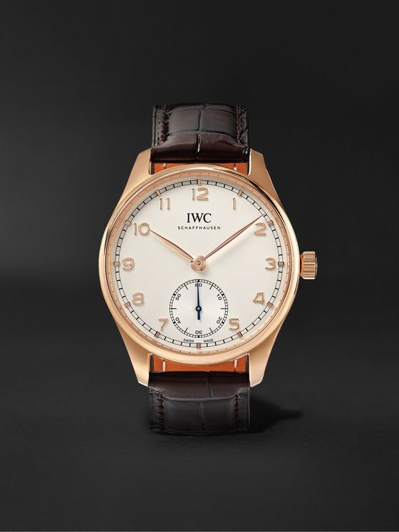 IWC SCHAFFHAUSEN Portugieser Automatic 40.4mm 18-Karat Gold and Alligator Watch, Ref. No. IW358306