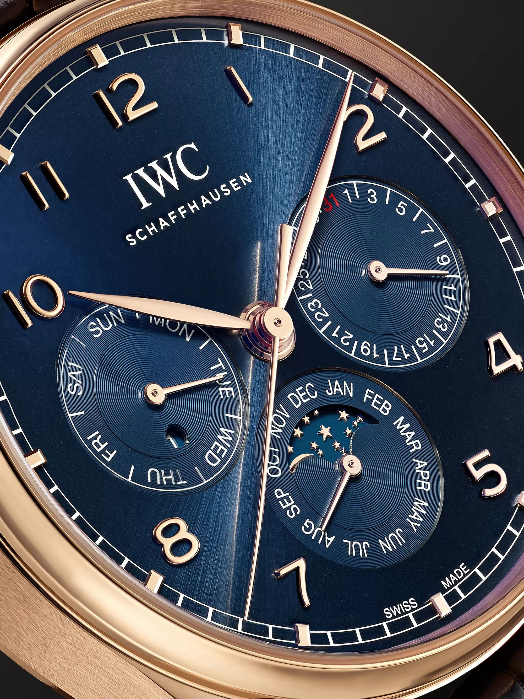 IWC SCHAFFHAUSEN Portugieser Perpetual Calendar Boutique Edition Automatic 42.4mm 18-Karat Red Gold and Alligator Watch, Ref. No. IW344205