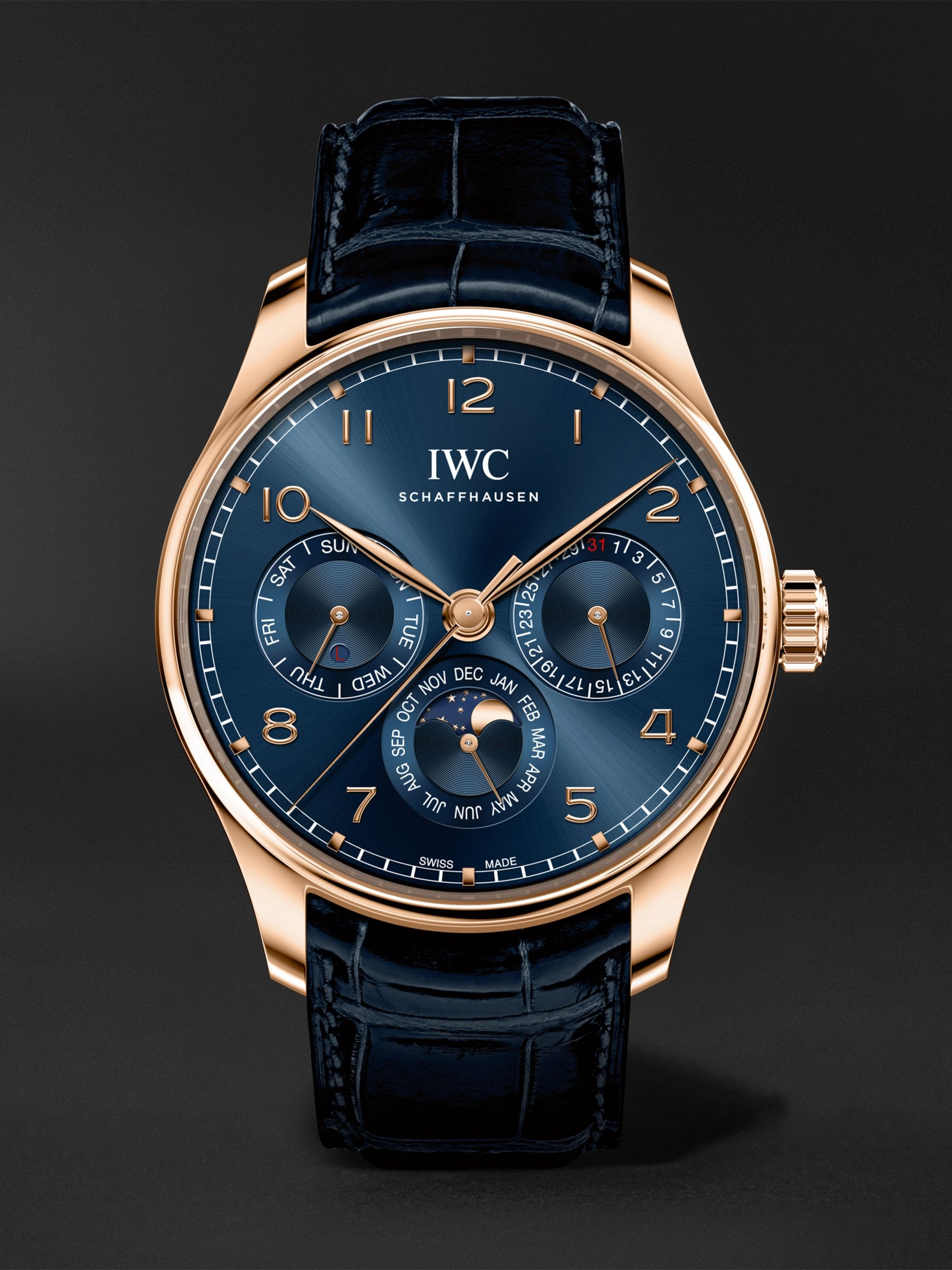 IWC SCHAFFHAUSEN Portugieser Perpetual Calendar Automatic Boutique Edition 42.4mm 18-Karat Gold and Alligator Watch, Ref. No. IW344205