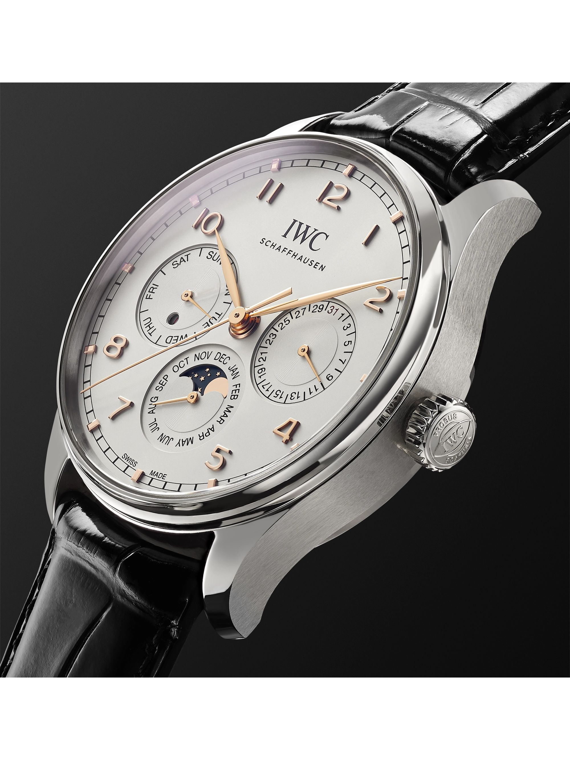 IWC SCHAFFHAUSEN Portugieser Perpetual Calendar Automatic 42.4mm Stainless Steel and Alligator Watch, Ref. No. IW344203
