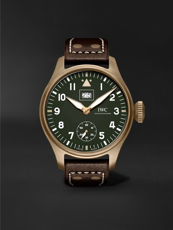 IWC SCHAFFHAUSEN Big Pilot's Big Date Spitfire Limited Edition Hand-Wound 46.2mm Bronze and Leather Watch, Ref. No. IW510506
