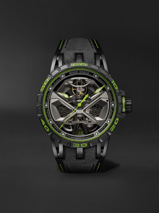 ROGER DUBUIS Excalibur Spider Huracán Automatic Skeleton 45mm GreyTech Titanium and Rubber Watch, Ref. No. RDDBEX0830