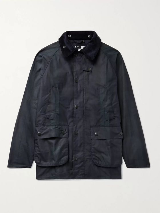Barbour White Label Bedale Corduroy-Trimmed Checked Waxed-Cotton Jacket