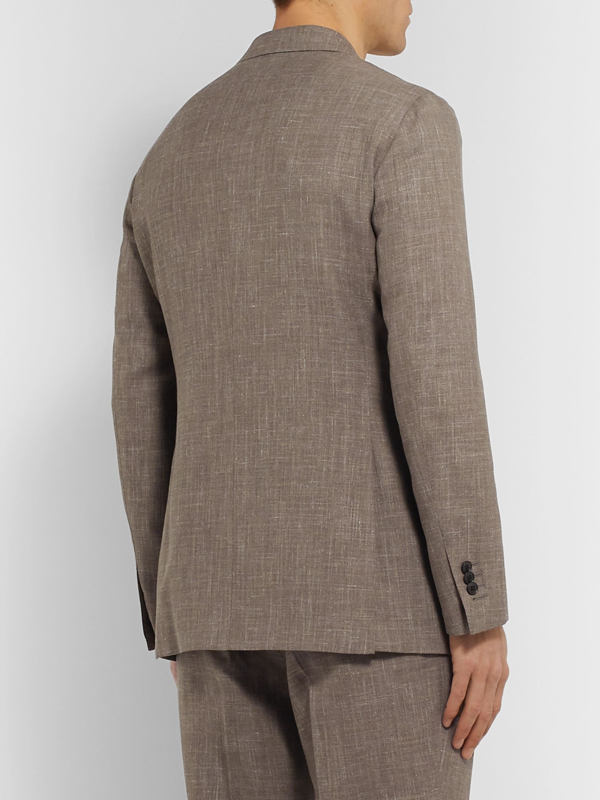 Saman Amel Taupe Mélange Wool, Silk and Linen-Blend Suit Jacket