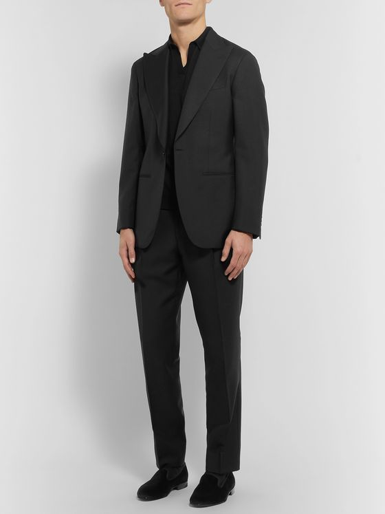 Saman Amel Black Tapered Wool Tuxedo Trousers