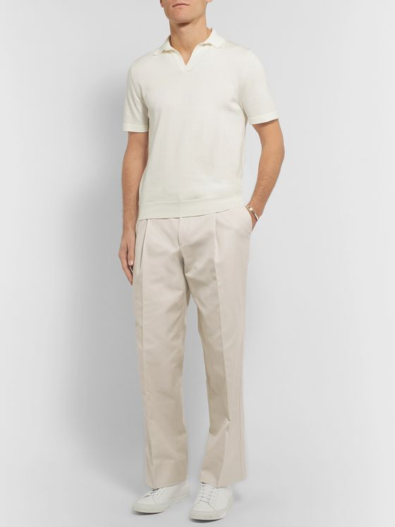 Saman Amel Pleated Cotton Trousers