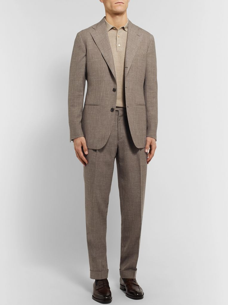 Saman Amel Taupe Tapered Pleated Mélange Wool, Silk and Linen-Blend Suit Trousers