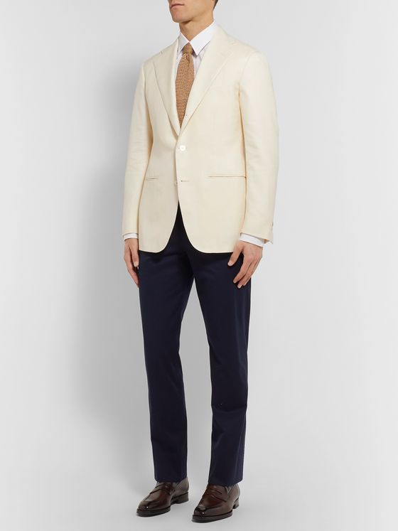 SAMAN AMEL Off-White Wool, Silk and Linen-Blend Twill Suit Jacket