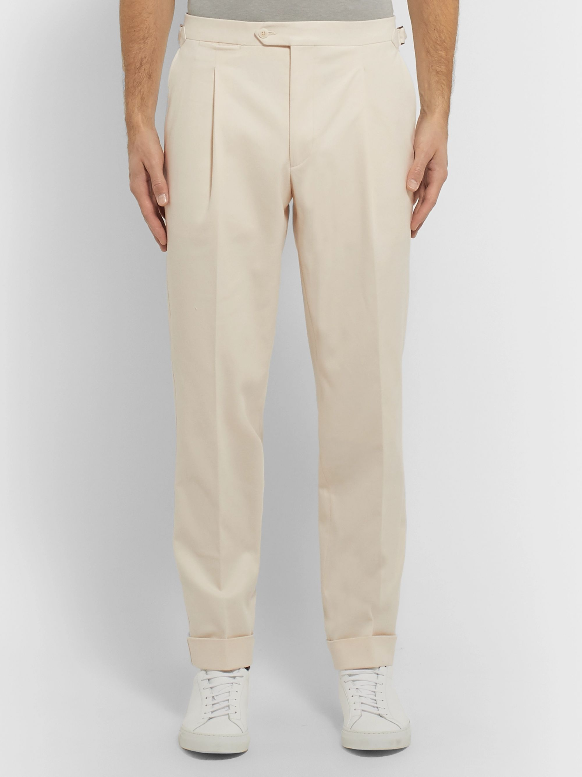 Saman Amel Tapered Pleated Cotton-Blend Twill Trousers