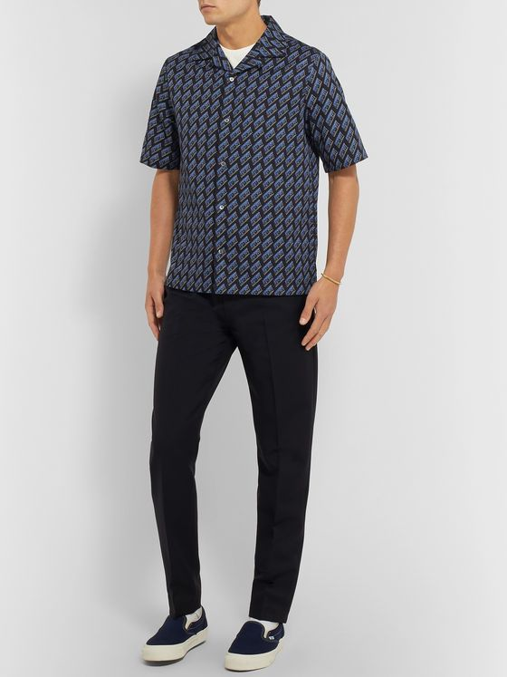McQ Alexander McQueen Camp-Collar Logo-Print Cotton-Poplin Shirt