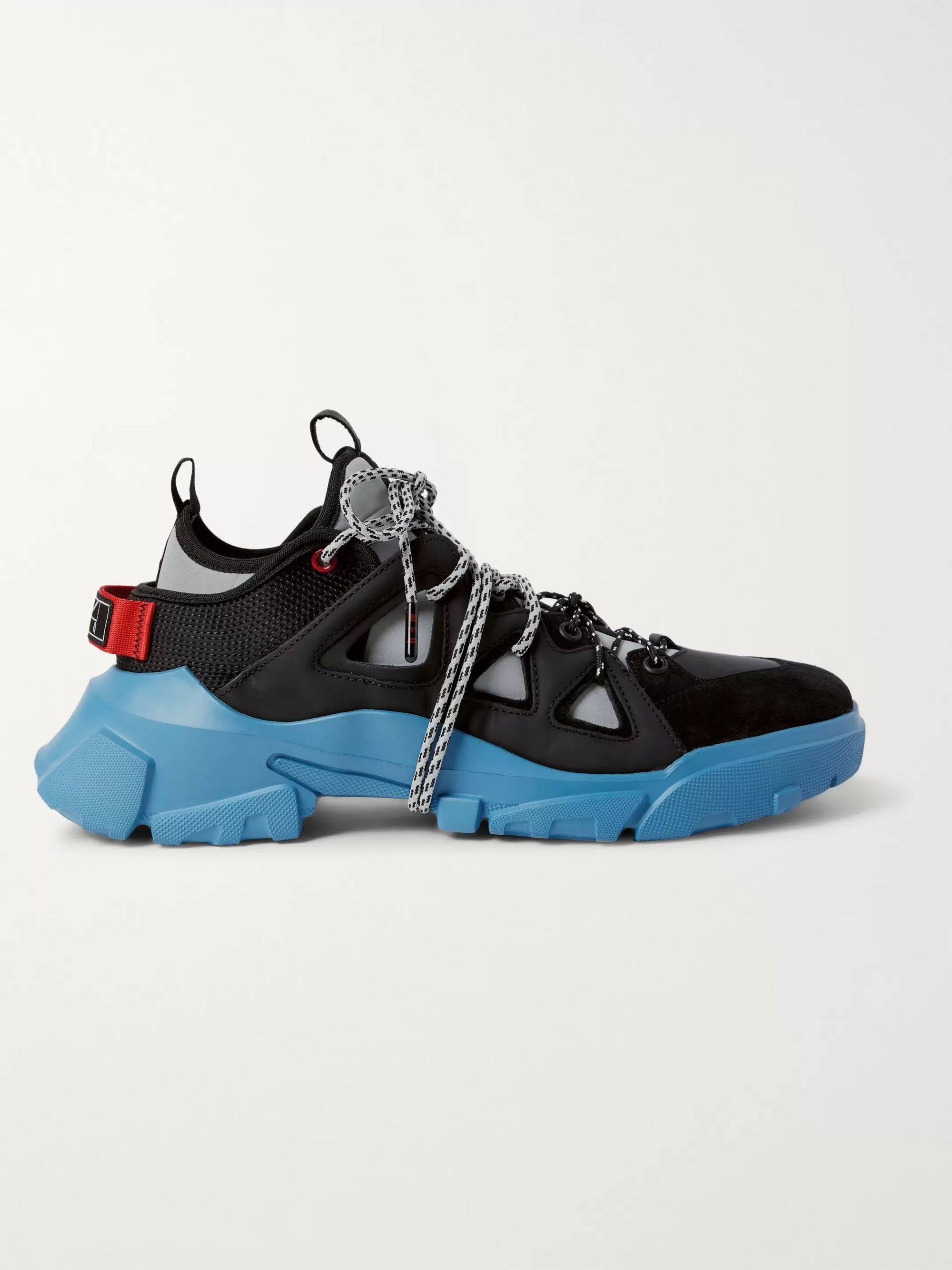 McQ Alexander McQueen Orbyt Suede, Leather and Neoprene Sneakers