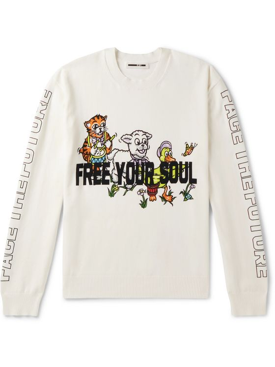 McQ Alexander McQueen Printed Stretch-Cotton Blend Sweater
