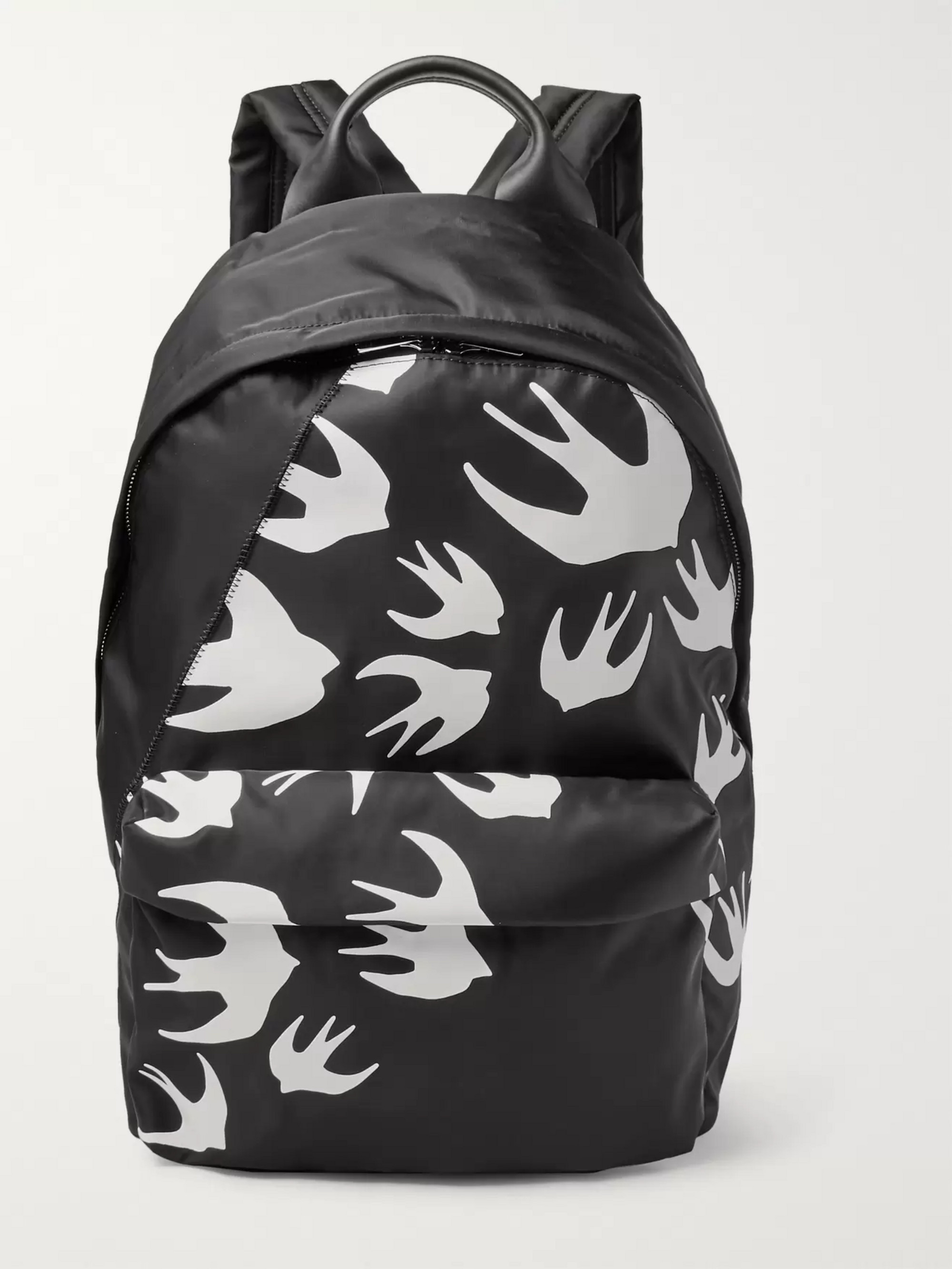 McQ Alexander McQueen Leather-Trimmed Printed Shell Backpack