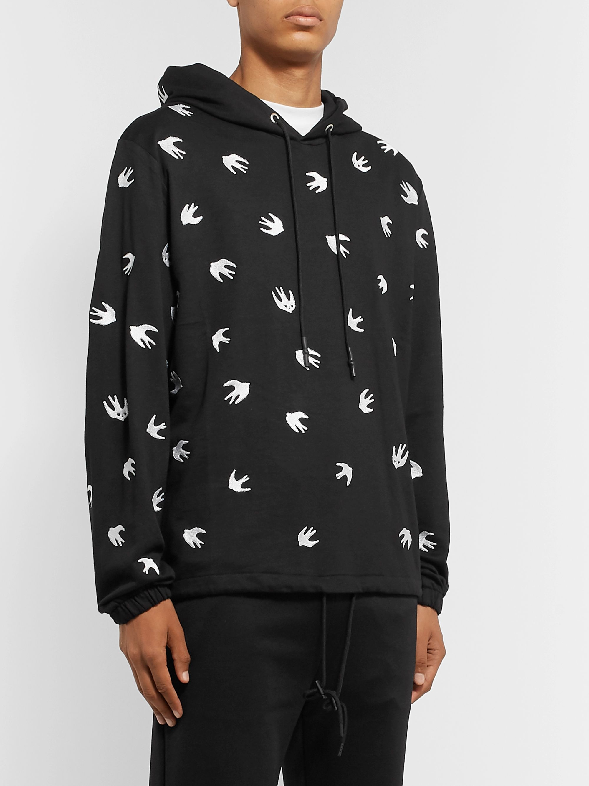 McQ Alexander McQueen Embroidered Loopback Cotton and Modal-Blend Jersey Hoodie