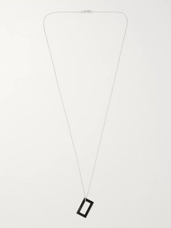 Le Gramme 21/10ths Sterling Silver and Ceramic Necklace