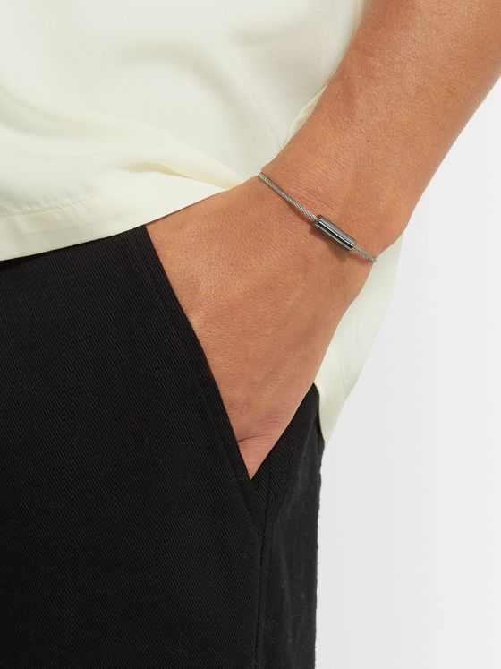 Le Gramme Le Câble 5 Brushed Sterling Silver and Ceramic Bracelet