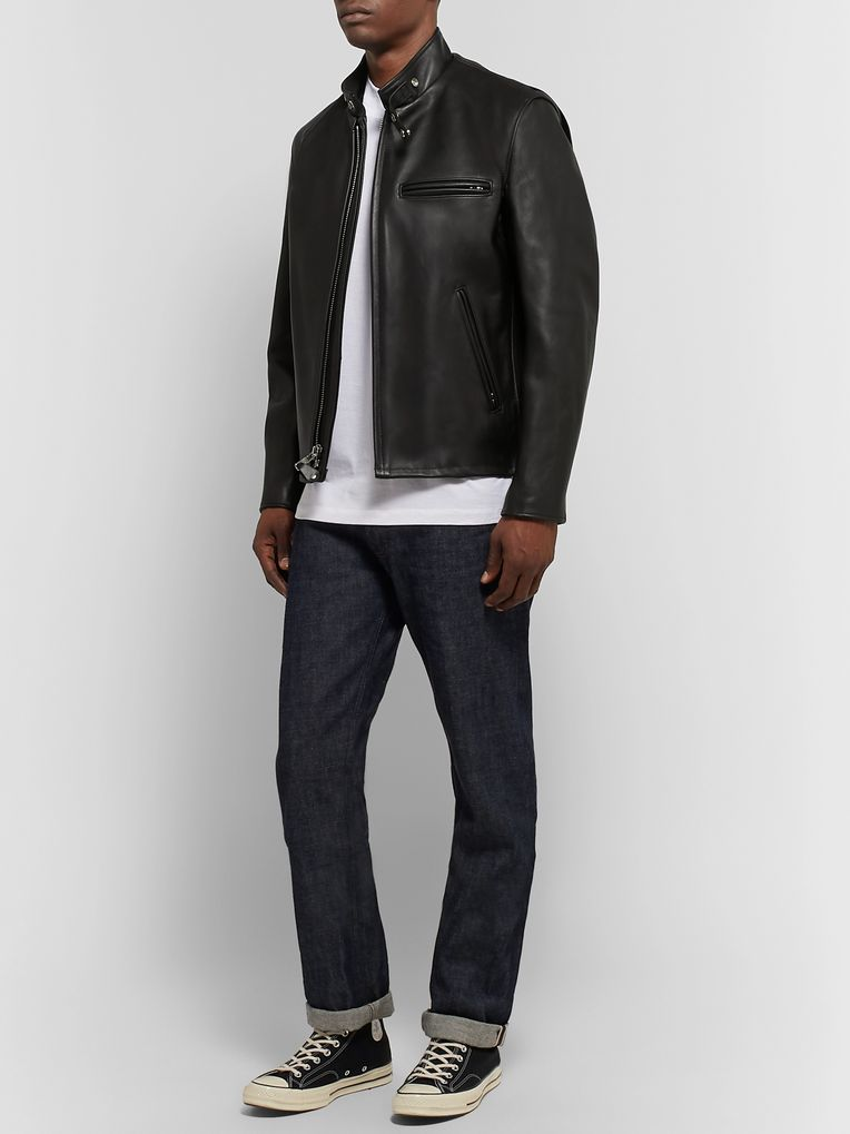 Schott Faux Fur-Lined Leather Café Racer Jacket