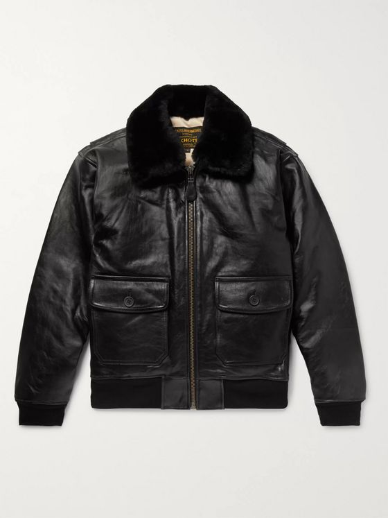 Schott G-1 Shearling-Trimmed Leather Bomber Jacket