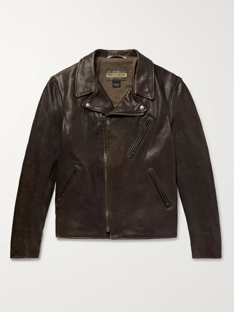 Schott Raven Perfecto Slim-Fit Leather Biker Jacket