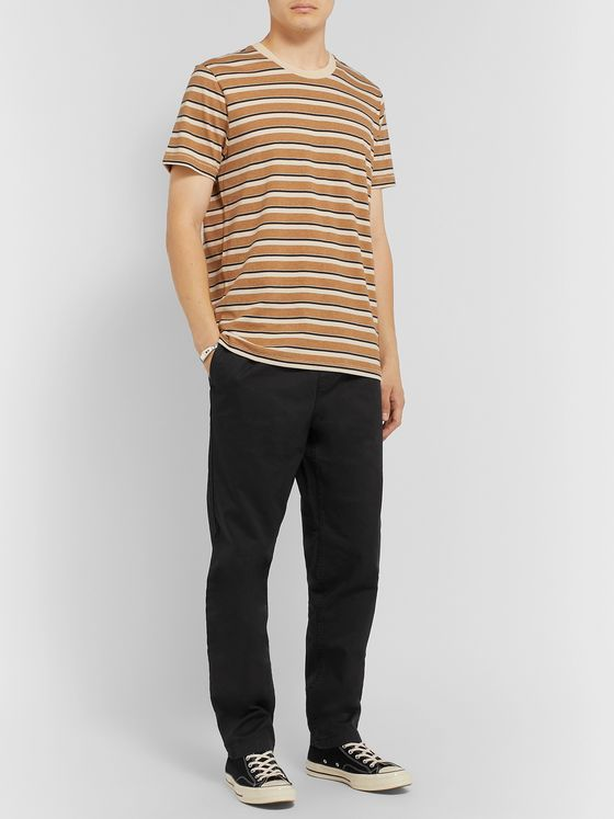 Outerknown Black Tapered Organic Cotton-Twill Drawstring Trousers