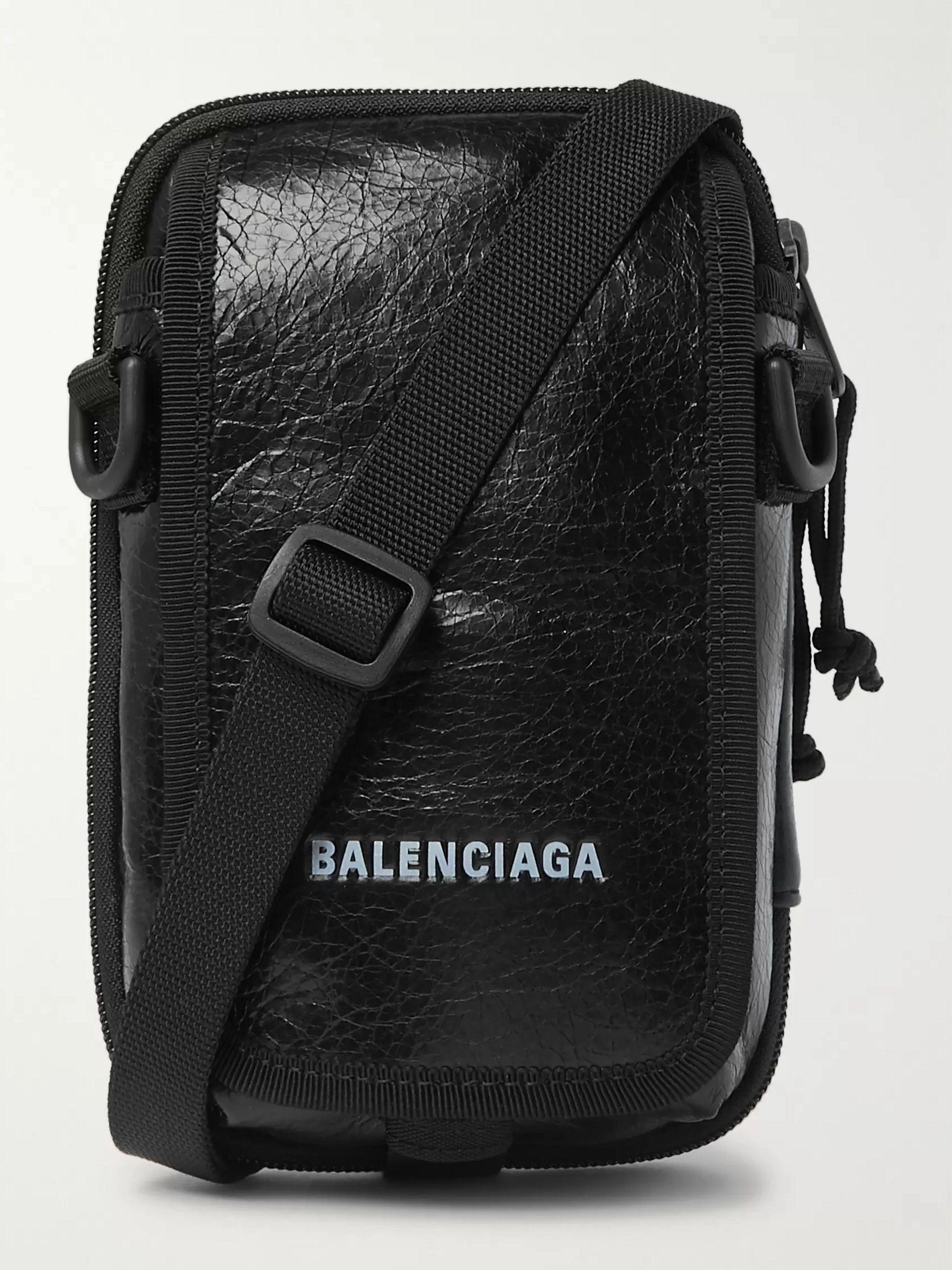 발렌시아가 Balenciaga Arena Logo-Print Crinkled-Leather Pouch,Black