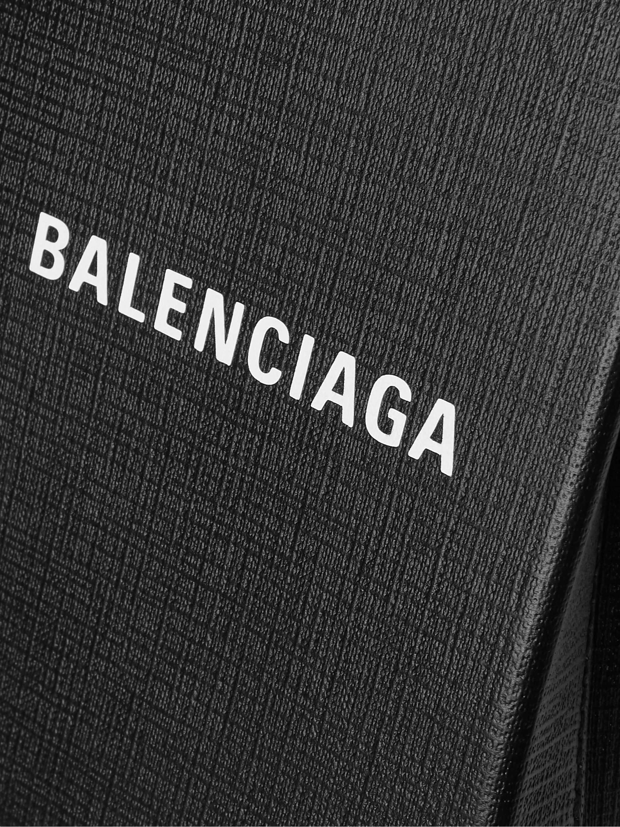 BALENCIAGA Logo-Print Textured-Leather Messenger Bag