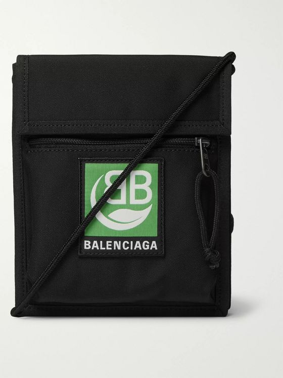 Balenciaga Logo-Appliquéd Canvas Messenger Bag