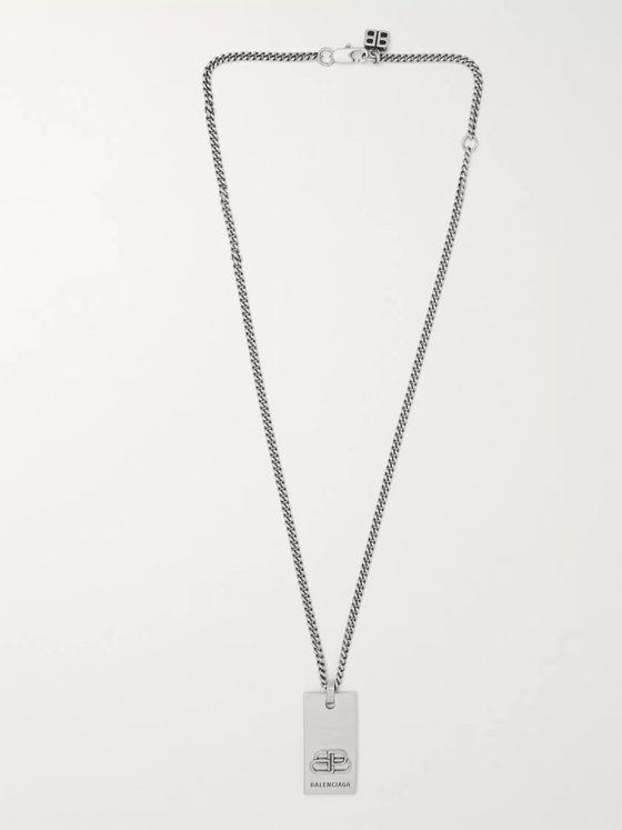 Balenciaga Logo-Engraved Silver-Tone Necklace