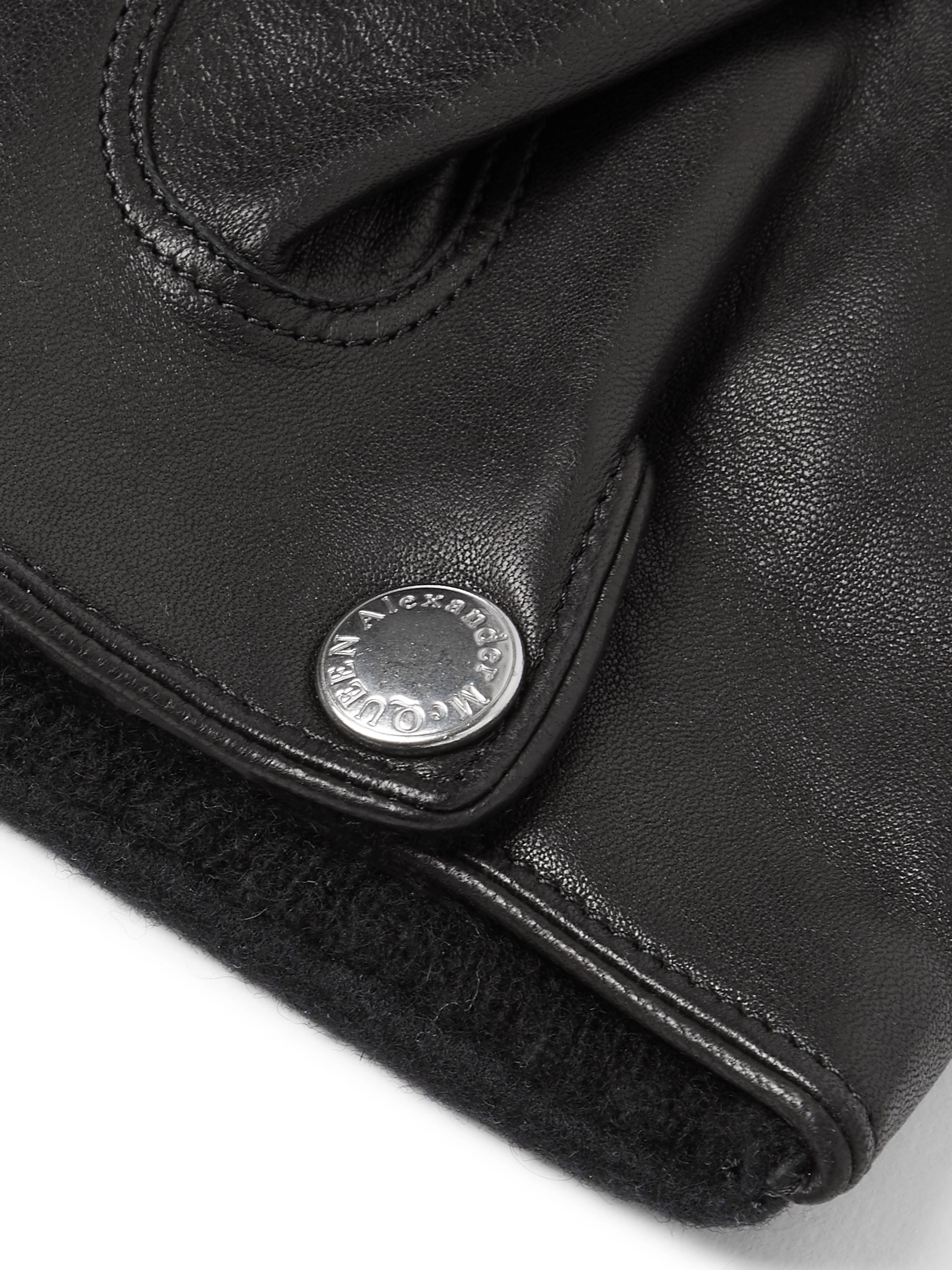 Alexander McQueen Cashmere-Lined Leather and Wool-Felt Gloves
