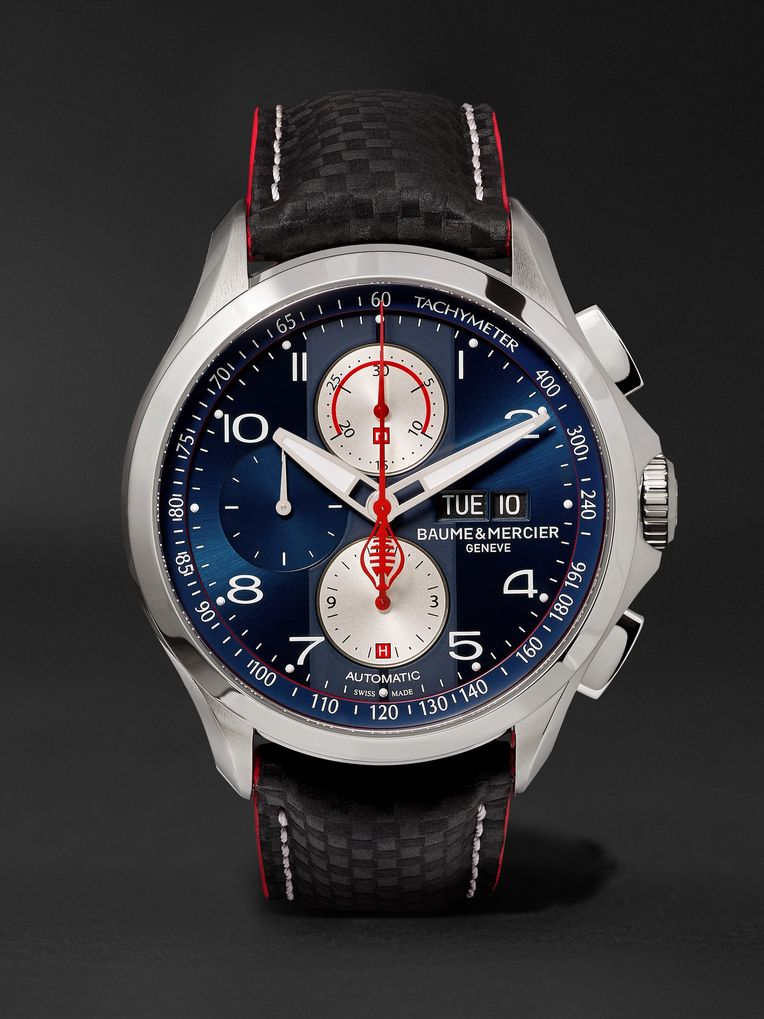 Baume & Mercier Clifton Club Shelby Cobra Chronograph 44mm Stainless Steel and Leather Watch, Ref. No. 10343