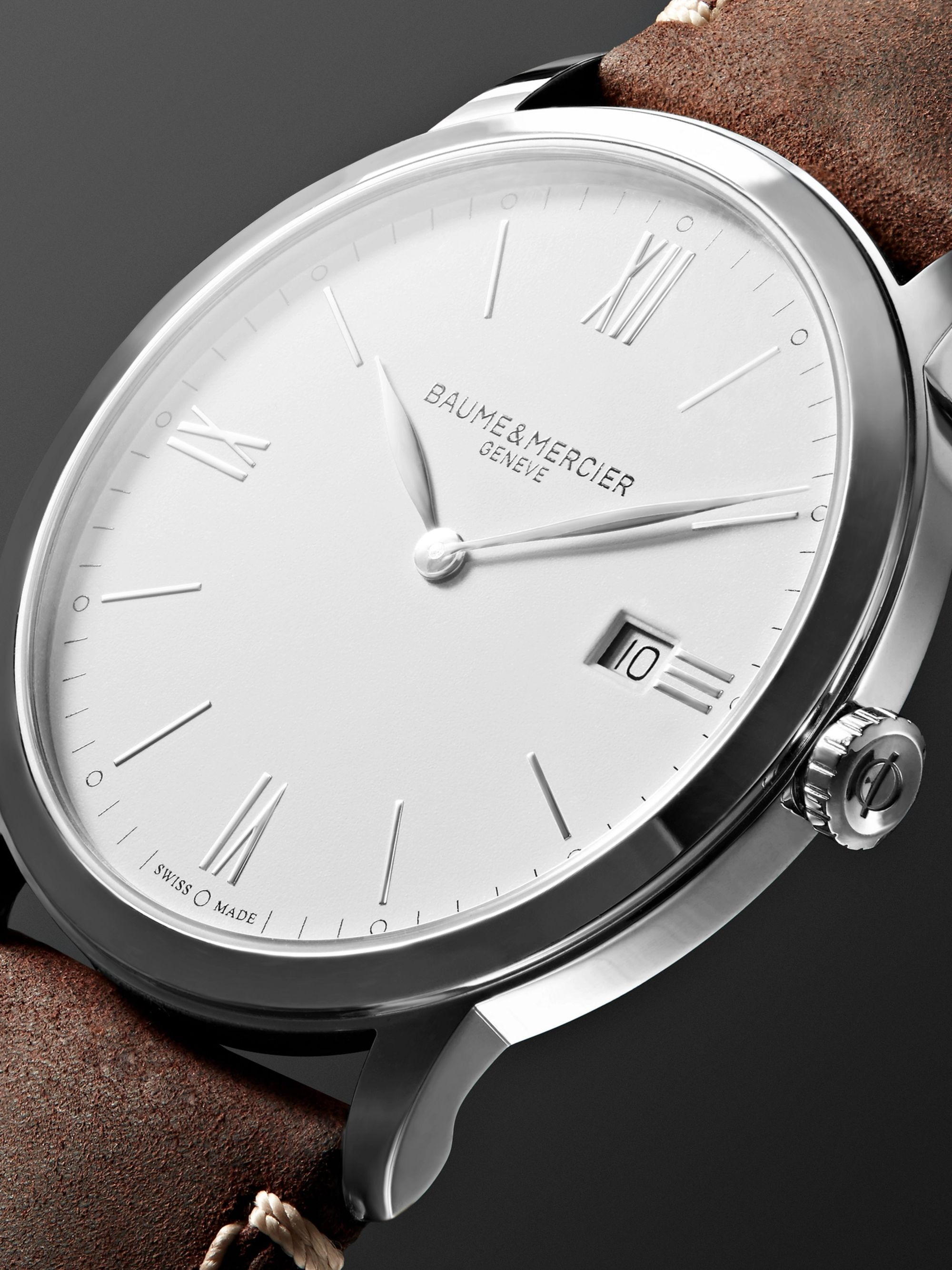 Baume & Mercier My Classima 40mm Stainless Steel and Leather Watch, Ref. No. 10389 cons