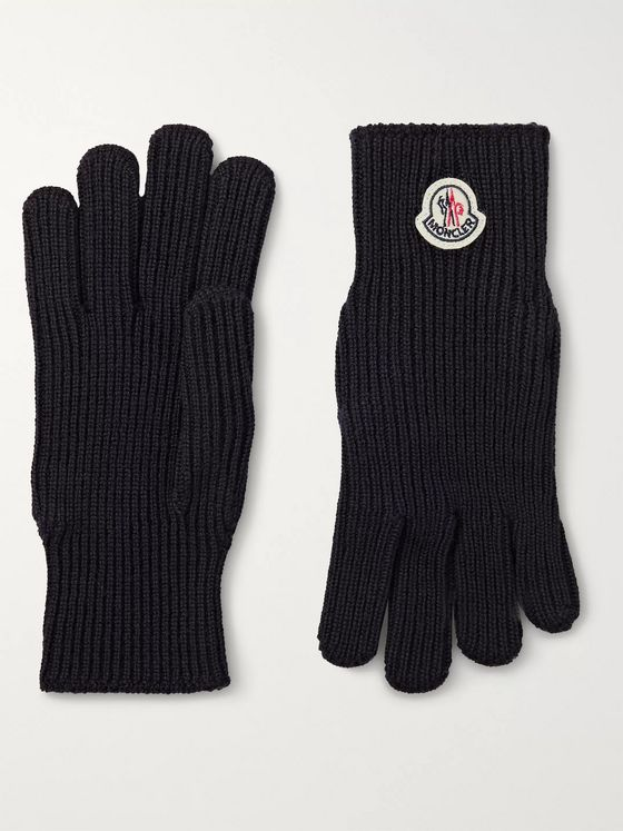 Moncler Logo-Appliquéd Virgin Wool Gloves