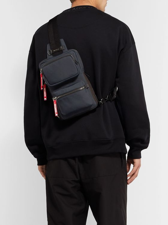 Moncler Leather and Suede-Trimmed Shell Messenger Bag