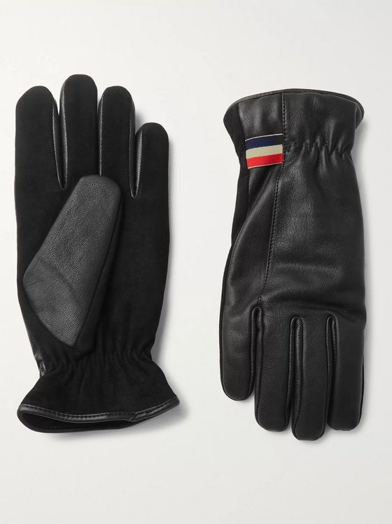 Moncler Panelled Leather and Nubuck Skiing Gloves