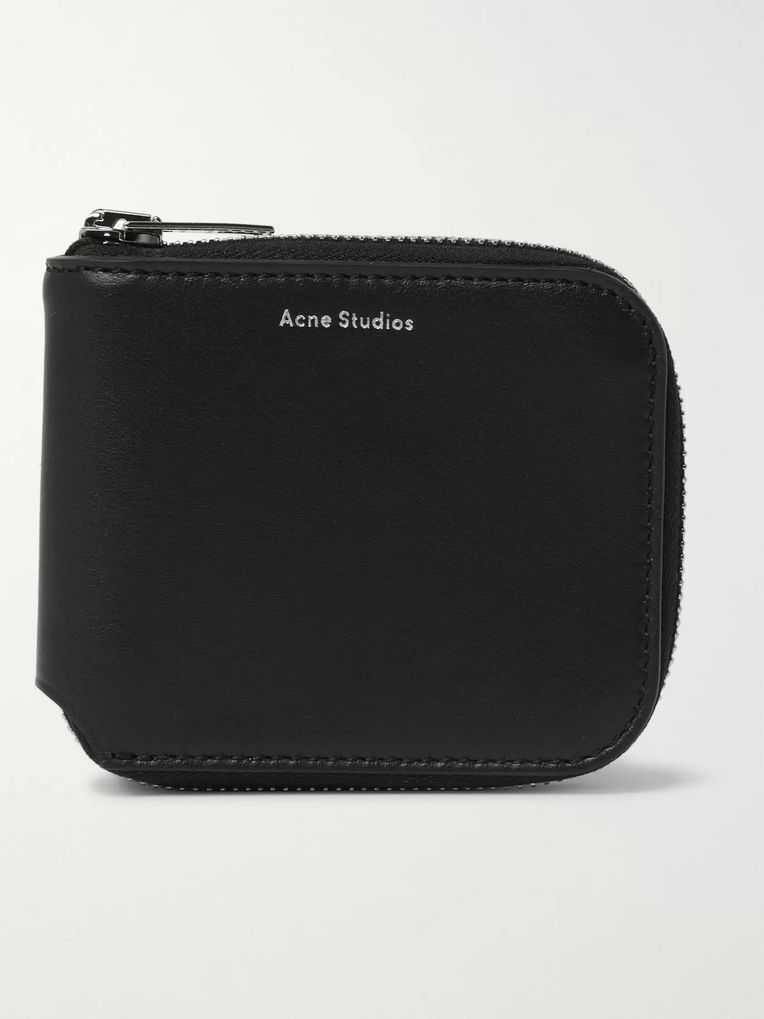 Acne Studios Kei S Logo-Print Leather Zip-Around Wallet