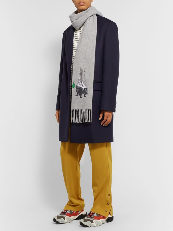 Acne Studios Fringed Embroidered Mélange Brushed-Wool Scarf
