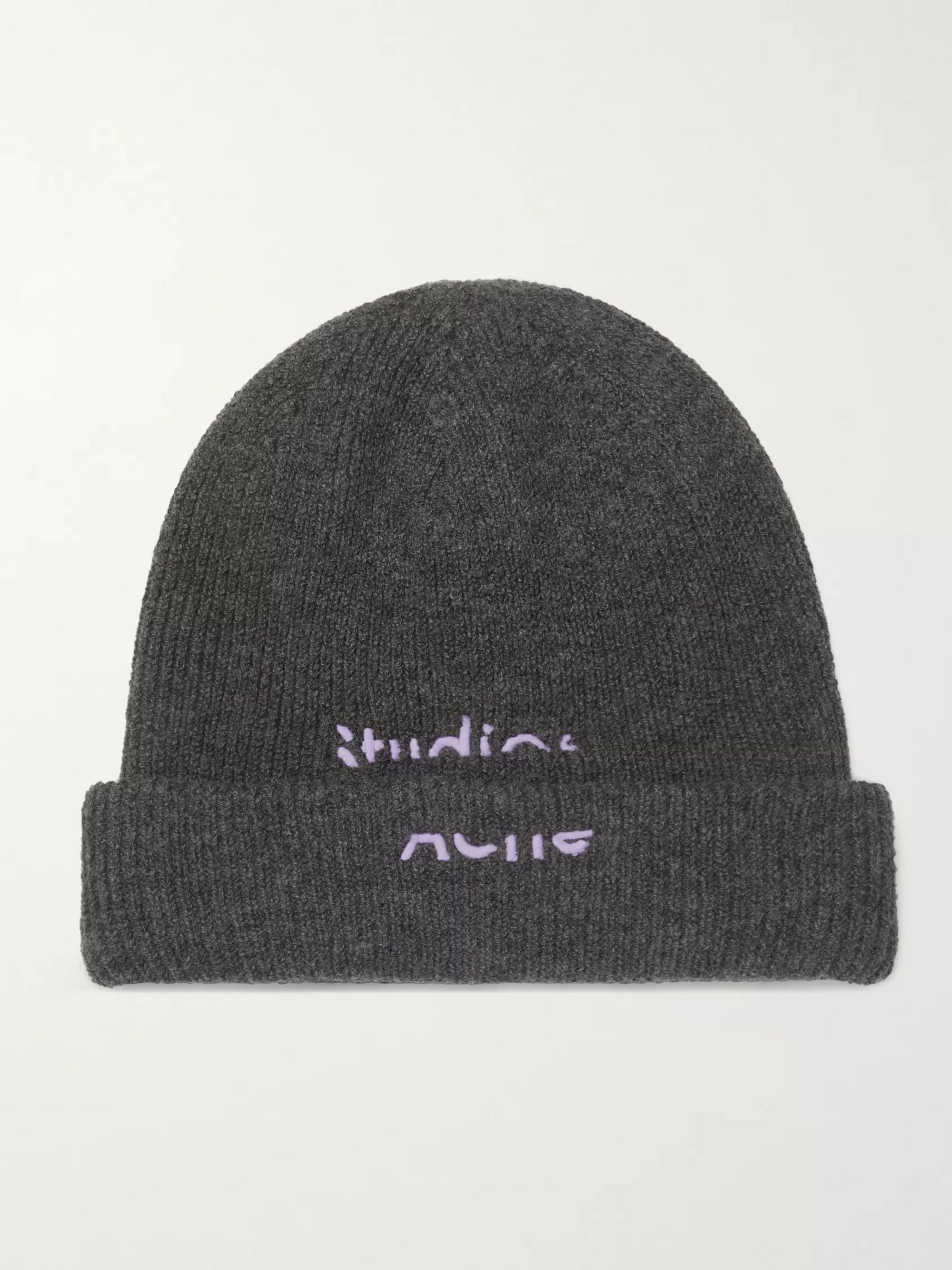 Acne Studios Logo-Embroidered Wool-Blend Beanie