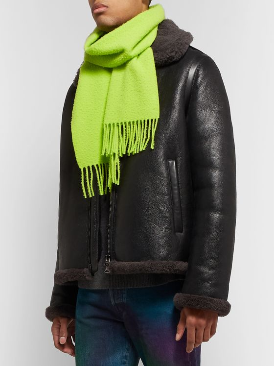 Acne Studios Canada Narrow Fringed Brushed-Wool Scarf