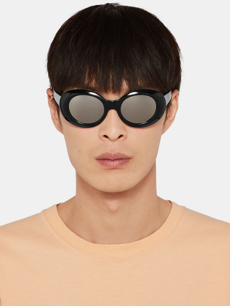Acne Studios Mustang Round-Frame Mirrored Acetate Sunglasses
