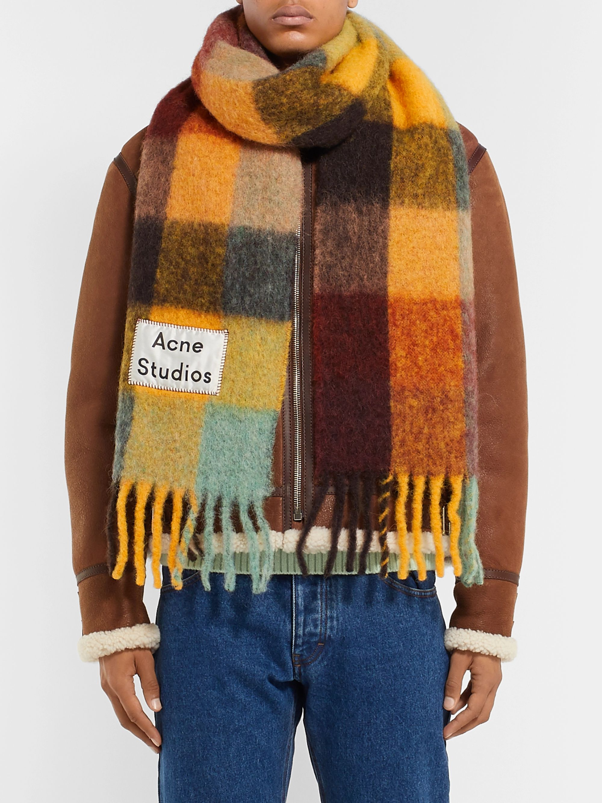 Acne Studios Vally Fringed Checked Alpaca, Wool and Mohair-Blend Scarf