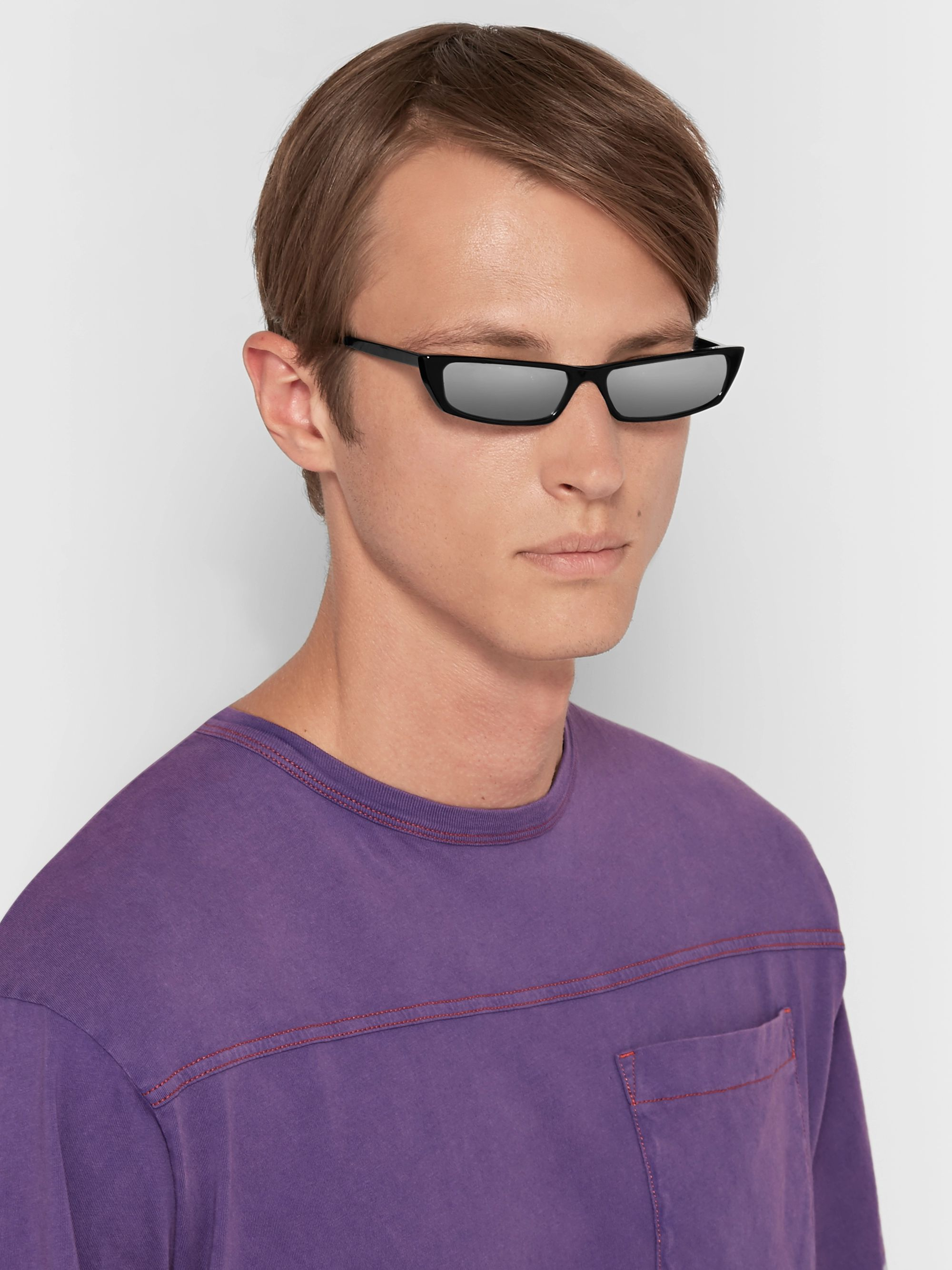 Acne Studios Agar Rectangle-Frame Acetate Mirrored Sunglasses