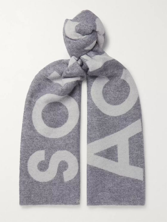Acne Studios Oversized Logo-Intarsia Wool-Blend Scarf
