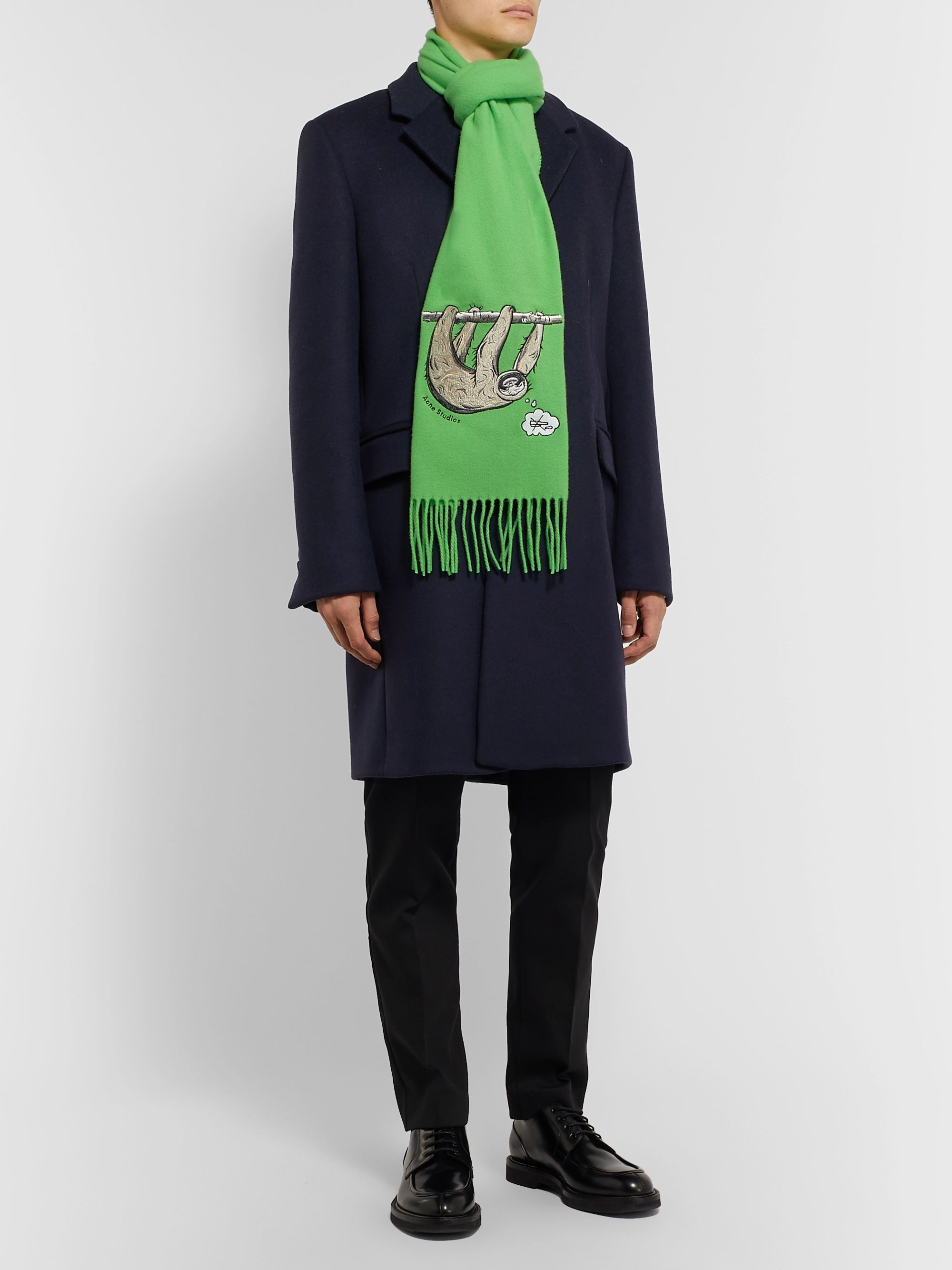 Acne Studios Fringed Embroidered Brushed-Wool Scarf