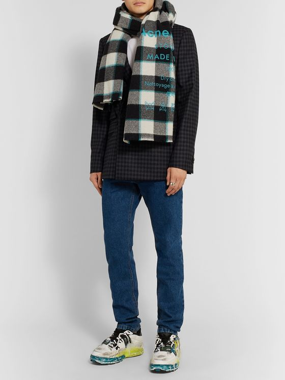 ACNE STUDIOS Logo-Print Checked Wool Scarf